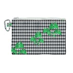 Houndstooth Leaf Canvas Cosmetic Bag (Large)