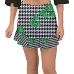 Houndstooth Leaf Fishtail Mini Chiffon Skirt