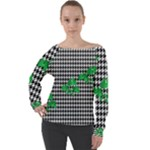 Houndstooth Leaf Off Shoulder Long Sleeve Velour Top