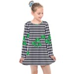 Houndstooth Leaf Kids  Long Sleeve Dress