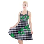 Houndstooth Leaf Halter Party Swing Dress