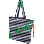Houndstooth Leaf Drawstring Tote Bag