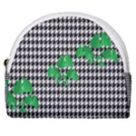 Houndstooth Leaf Horseshoe Style Canvas Pouch