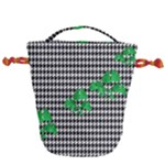 Houndstooth Leaf Drawstring Bucket Bag