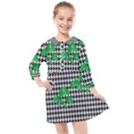 Houndstooth Leaf Kids  Quarter Sleeve Shirt Dress