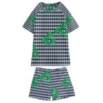 Houndstooth Leaf Kids  Swim Tee and Shorts Set