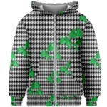 Houndstooth Leaf Kids  Zipper Hoodie Without Drawstring