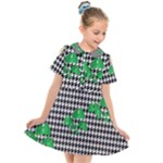 Houndstooth Leaf Kids  Short Sleeve Shirt Dress