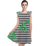 Houndstooth Leaf Tie Up Tunic Dress