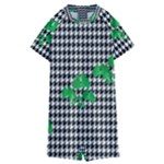 Houndstooth Leaf Kids  Boyleg Half Suit Swimwear