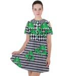 Houndstooth Leaf Short Sleeve Shoulder Cut Out Dress