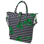 Houndstooth Leaf Buckle Top Tote Bag