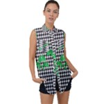Houndstooth Leaf Sleeveless Chiffon Button Shirt