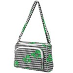Houndstooth Leaf Front Pocket Crossbody Bag