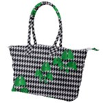 Houndstooth Leaf Canvas Shoulder Bag
