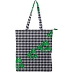 Houndstooth Leaf Double Zip Up Tote Bag