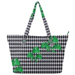 Houndstooth Leaf Full Print Shoulder Bag