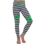Houndstooth Leaf Kids  Lightweight Velour Classic Yoga Leggings