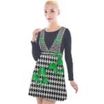Houndstooth Leaf Plunge Pinafore Velour Dress