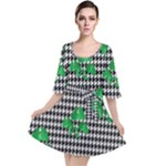 Houndstooth Leaf Velour Kimono Dress