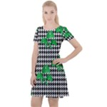 Houndstooth Leaf Cap Sleeve Velour Dress