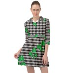 Houndstooth Leaf Mini Skater Shirt Dress