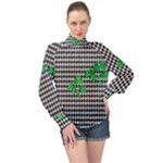 Houndstooth Leaf High Neck Long Sleeve Chiffon Top