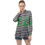 Houndstooth Leaf Long Sleeve Satin Shirt