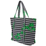 Houndstooth Leaf Zip Up Canvas Bag