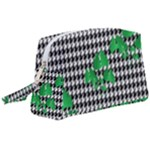 Houndstooth Leaf Wristlet Pouch Bag (Large)