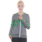 Houndstooth Leaf Casual Zip Up Jacket