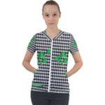 Houndstooth Leaf Short Sleeve Zip Up Jacket