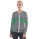 Houndstooth Leaf Velvet Zip Up Jacket