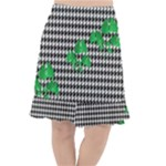 Houndstooth Leaf Fishtail Chiffon Skirt