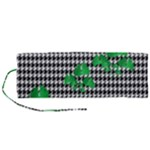 Houndstooth Leaf Roll Up Canvas Pencil Holder (M)