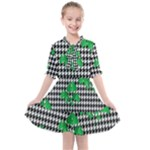 Houndstooth Leaf Kids  All Frills Chiffon Dress