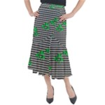 Houndstooth Leaf Midi Mermaid Skirt