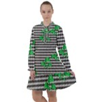 Houndstooth Leaf All Frills Chiffon Dress