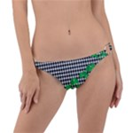 Houndstooth Leaf Ring Detail Bikini Bottom