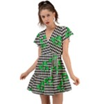Houndstooth Leaf Flutter Sleeve Wrap Dress