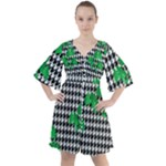 Houndstooth Leaf Boho Button Up Dress