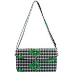 Houndstooth Leaf Removable Strap Clutch Bag