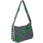 Houndstooth Leaf Zip Up Shoulder Bag