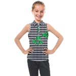 Houndstooth Leaf Kids  Sleeveless Polo Tee