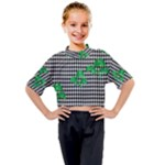 Houndstooth Leaf Kids Mock Neck Tee