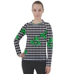 Houndstooth Leaf Women s Pique Long Sleeve Tee