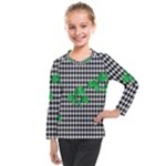 Houndstooth Leaf Kids  Long Mesh Tee