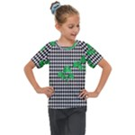 Houndstooth Leaf Kids  Mesh Piece Tee