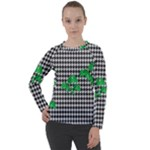 Houndstooth Leaf Women s Long Sleeve Raglan Tee