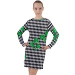Houndstooth Leaf Long Sleeve Hoodie Dress